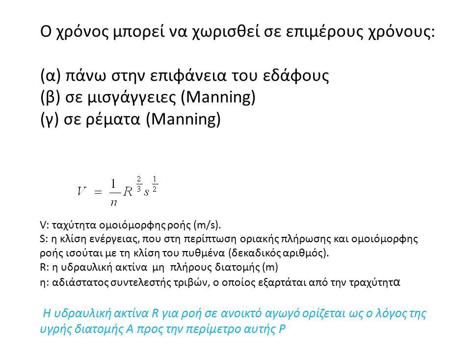 O χρόνος μπορεί να χωρισθεί σε επιμέρους χρόνους: (α) πάνω στην επιφάνεια του εδάφους (β) σε μισγάγγειες (Manning) (γ) σε ρέματα (Manning) V: ταχύτητα