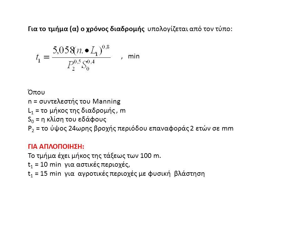 Για το τμήμα (β) ο χρόνος διαδρομής υπολογίζεται από τον τύπο:, min Όπου V2 σε m/s : για φυσική ροή V = 4,92 S 0,5 για διευθετημένη ροή V = 6,21 S 0,5 (για υδραυλική ακτίνα 12,2 cm και 6,1 cm αντίστοιχα και n = 0,05 και 0,025) Για το τμήμα (γ) ο χρόνος διαδρομής υπολογίζεται από τον τύπο: V 3 από τον τύπο του Manning