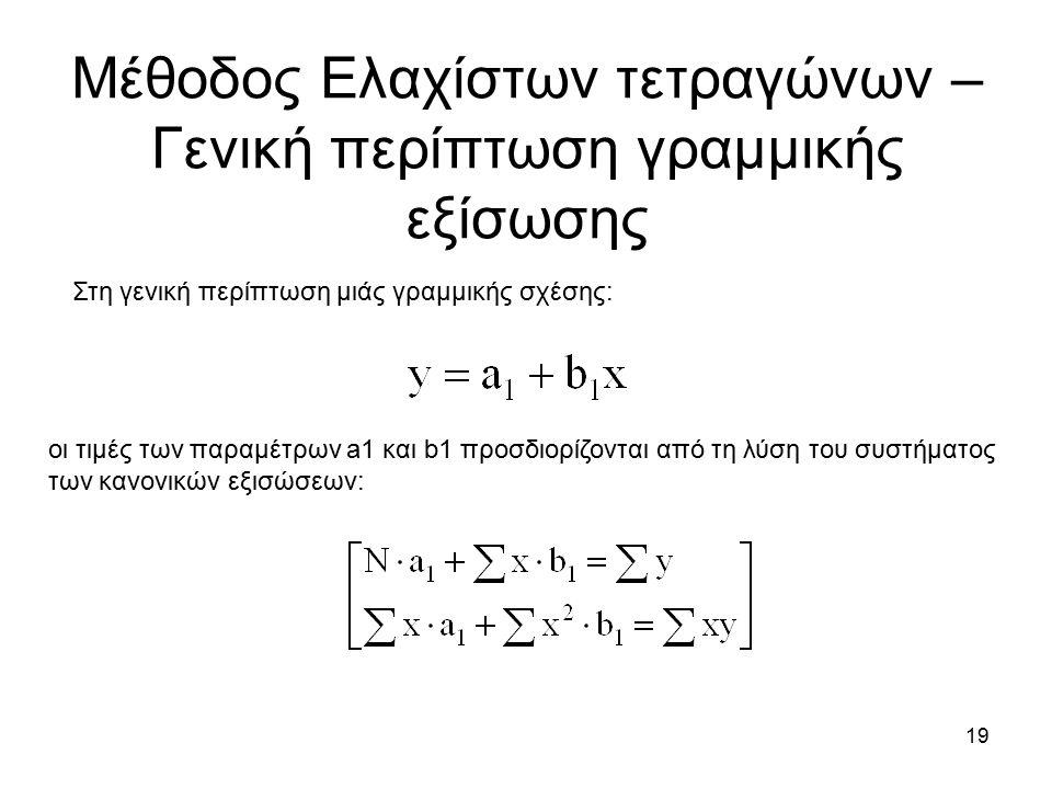 19 Μέθοδος Ελαχίστων τετραγώνων – Γενική περίπτωση γραμμικής εξίσωσης Στη γενική περίπτωση μιάς γραμμικής σχέσης: οι τιμές των παραμέτρων a1 και b1 προσδιορίζονται από τη λύση του συστήματος των κανονικών εξισώσεων:
