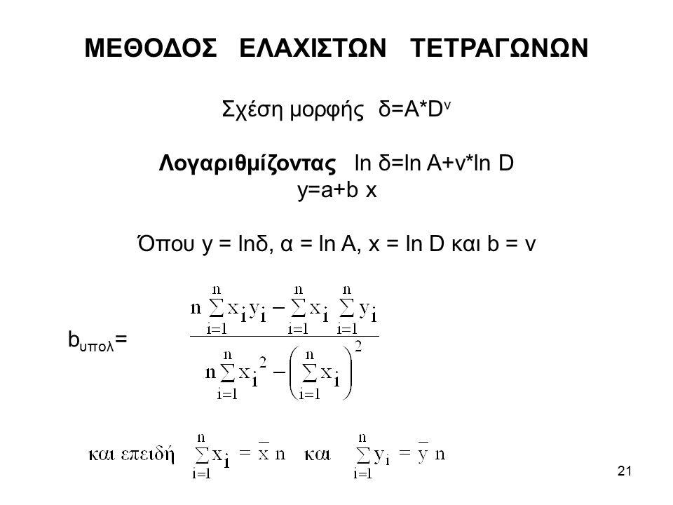 21 ΜΕΘΟΔΟΣ ΕΛΑΧΙΣΤΩΝ ΤΕΤΡΑΓΩΝΩΝ Σχέση μορφής δ=Α*D ν Λογαριθμίζοντας ln δ=ln Α+ν*ln D y=a+b x Όπου y = lnδ, α = ln A, x = ln D και b = ν b υπολ =