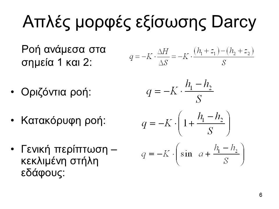 6 Απλές μορφές εξίσωσης Darcy Οριζόντια ροή: Κατακόρυφη ροή: Γενική περίπτωση – κεκλιμένη στήλη εδάφους: Ροή ανάμεσα στα σημεία 1 και 2:
