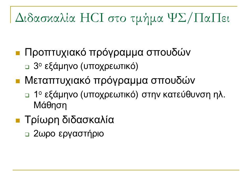 Διδασκαλία HCI στο τμήμα ΨΣ/ΠαΠει Προπτυχιακό πρόγραμμα σπουδών  3 ο εξάμηνο (υποχρεωτικό) Μεταπτυχιακό πρόγραμμα σπουδών  1 ο εξάμηνο (υποχρεωτικό) στην κατεύθυνση ηλ.