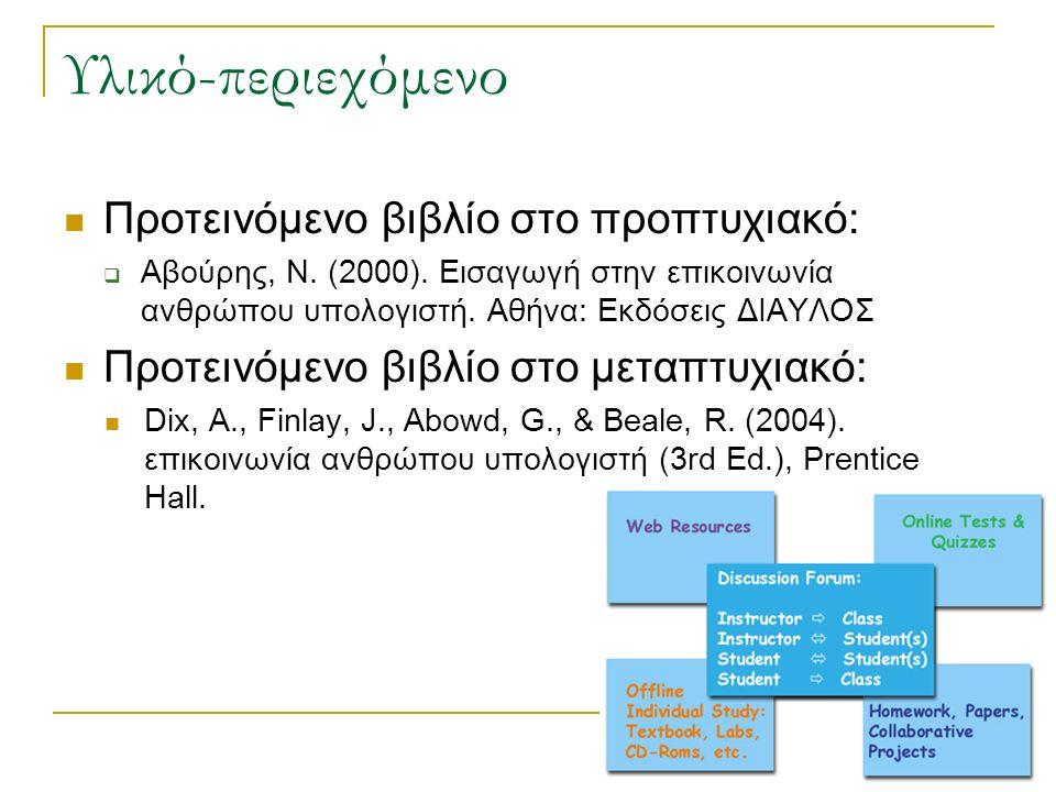 Υλικό-περιεχόμενο Προτεινόμενο βιβλίο στο προπτυχιακό:  Αβούρης, Ν. (2000). Εισαγωγή στην επικοινωνία ανθρώπου υπολογιστή. Αθήνα: Εκδόσεις ΔΙΑΥΛΟΣ Πρ