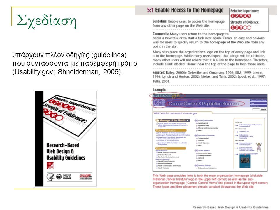 Σχεδίαση υπάρχουν πλέον οδηγίες (guidelines) που συντάσσονται με παρεμφερή τρόπο (Usability.gov; Shneiderman, 2006).