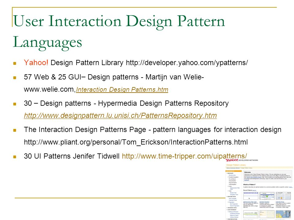 User Interaction Design Pattern Languages Yahoo.
