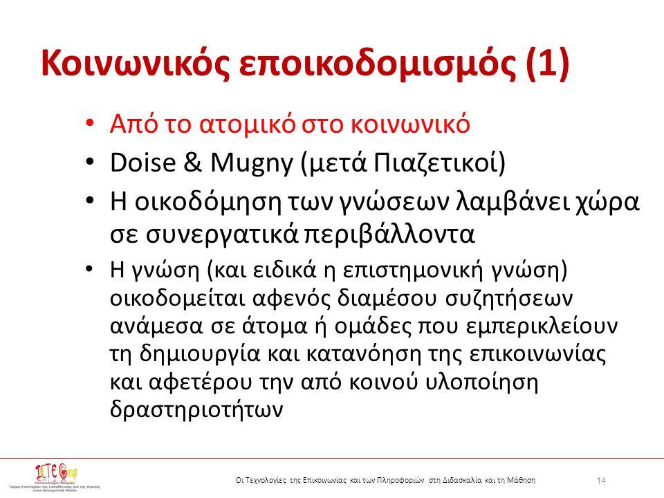14 Οι Τεχνολογίες της Επικοινωνίας και των Πληροφοριών στη Διδασκαλία και τη Μάθηση Κοινωνικός εποικοδομισμός (1) Από το ατομικό στο κοινωνικό Doise & Mugny (μετά Πιαζετικοί) Η οικοδόμηση των γνώσεων λαμβάνει χώρα σε συνεργατικά περιβάλλοντα Η γνώση (και ειδικά η επιστημονική γνώση) οικοδομείται αφενός διαμέσου συζητήσεων ανάμεσα σε άτομα ή ομάδες που εμπερικλείουν τη δημιουργία και κατανόηση της επικοινωνίας και αφετέρου την από κοινού υλοποίηση δραστηριοτήτων