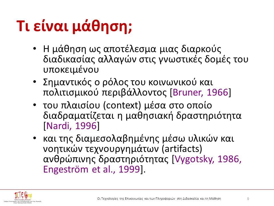 9 Οι Τεχνολογίες της Επικοινωνίας και των Πληροφοριών στη Διδασκαλία και τη Μάθηση Τι είναι μάθηση; Η μάθηση ως αποτέλεσμα μιας διαρκούς διαδικασίας αλλαγών στις γνωστικές δομές του υποκειμένου Σημαντικός ο ρόλος του κοινωνικού και πολιτισμικού περιβάλλοντος [Bruner, 1966] του πλαισίου (context) μέσα στο οποίο διαδραματίζεται η μαθησιακή δραστηριότητα [Nardi, 1996] και της διαμεσολαβημένης μέσω υλικών και νοητικών τεχνουργημάτων (artifacts) ανθρώπινης δραστηριότητας [Vygotsky, 1986, Engeström et al., 1999].