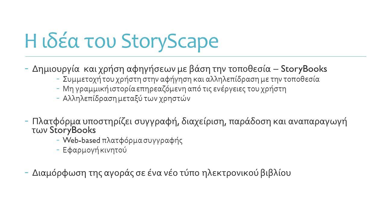 Η ιδέα του StoryScape - Δημιουργία και χρήση αφηγήσεων με βάση την τοποθεσία – StoryBooks - Συμμετοχή του χρήστη στην αφήγηση και αλληλεπίδραση με την τοποθεσία - Μη γραμμική ιστορία επηρεαζόμενη από τις ενέργειες του χρήστη - Αλληλεπίδραση μεταξύ των χρηστών - Πλατφόρμα υποστηρίζει συγγραφή, διαχείριση, παράδοση και αναπαραγωγή των StoryBooks - Web-based πλατφόρμα συγγραφής - Εφαρμογή κινητού - Διαμόρφωση της αγοράς σε ένα νέο τύπο ηλεκτρονικού βιβλίου