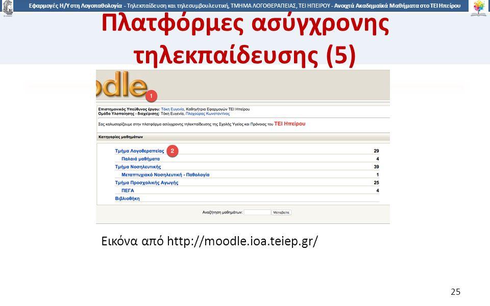 2525 Εφαρμογές Η/Υ στη Λογοπαθολογία - Τηλεκπαίδευση και τηλεσυμβουλευτική, ΤΜΗΜΑ ΛΟΓΟΘΕΡΑΠΕΙΑΣ, ΤΕΙ ΗΠΕΙΡΟΥ - Ανοιχτά Ακαδημαϊκά Μαθήματα στο ΤΕΙ Ηπείρου Εικόνα από http://moodle.ioa.teiep.gr/ 25 Πλατφόρμες ασύγχρονης τηλεκπαίδευσης (5)