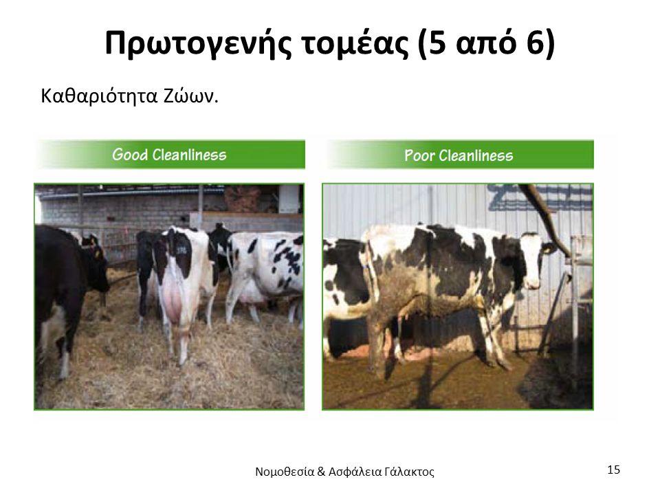 Πρωτογενής τομέας (5 από 6) Καθαριότητα Ζώων. Νομοθεσία & Ασφάλεια Γάλακτος 15