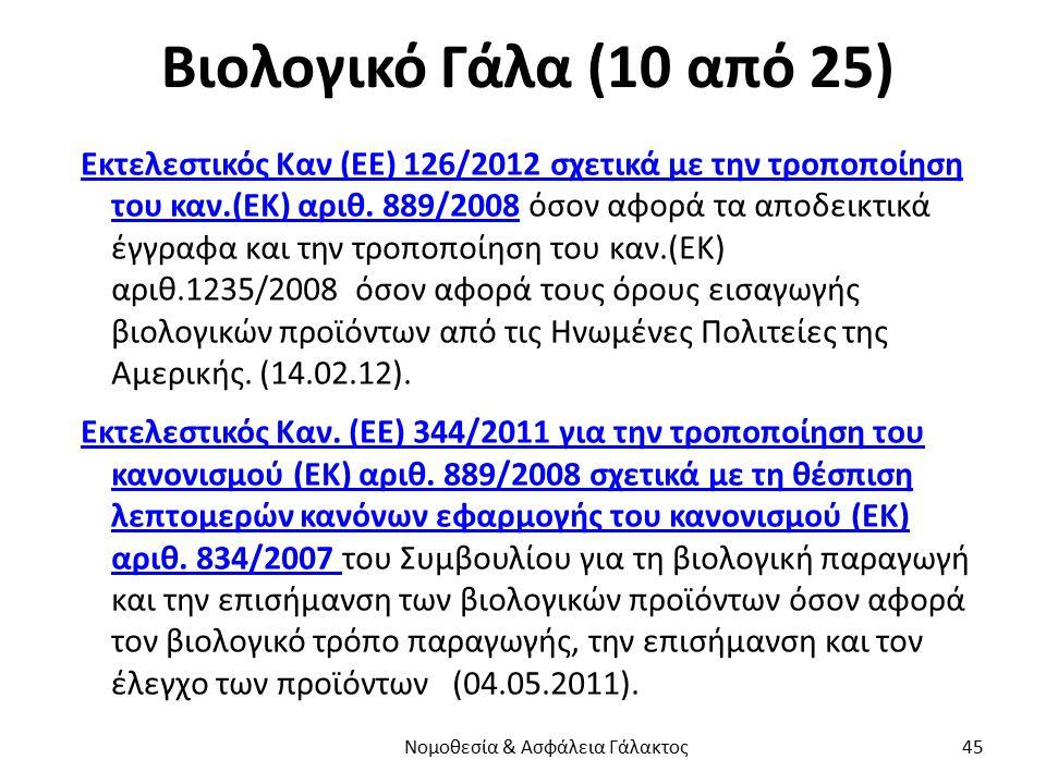 Βιολογικό Γάλα (10 από 25) Εκτελεστικός Καν (ΕΕ) 126/2012 σχετικά με την τροποποίηση του καν.(ΕΚ) αριθ. 889/2008Εκτελεστικός Καν (ΕΕ) 126/2012 σχετικά
