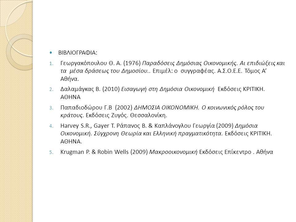ΒΙΒΛΙΟΓΡΑΦΙΑ: 1. Γεωργακόπουλου Θ. Α. (1976) Παραδόσεις Δημόσιας Οικονομικής. Αι επιδιώξεις και τα μέσα δράσεως του Δημοσίου.. Επιμέλ: ο συγγραφέας. Α