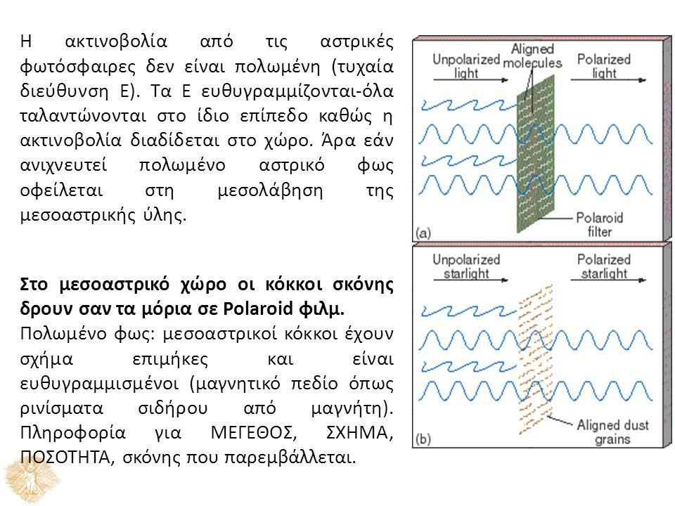 Η ακτινοβολία από τις αστρικές φωτόσφαιρες δεν είναι πολωμένη (τυχαία διεύθυνση Ε).