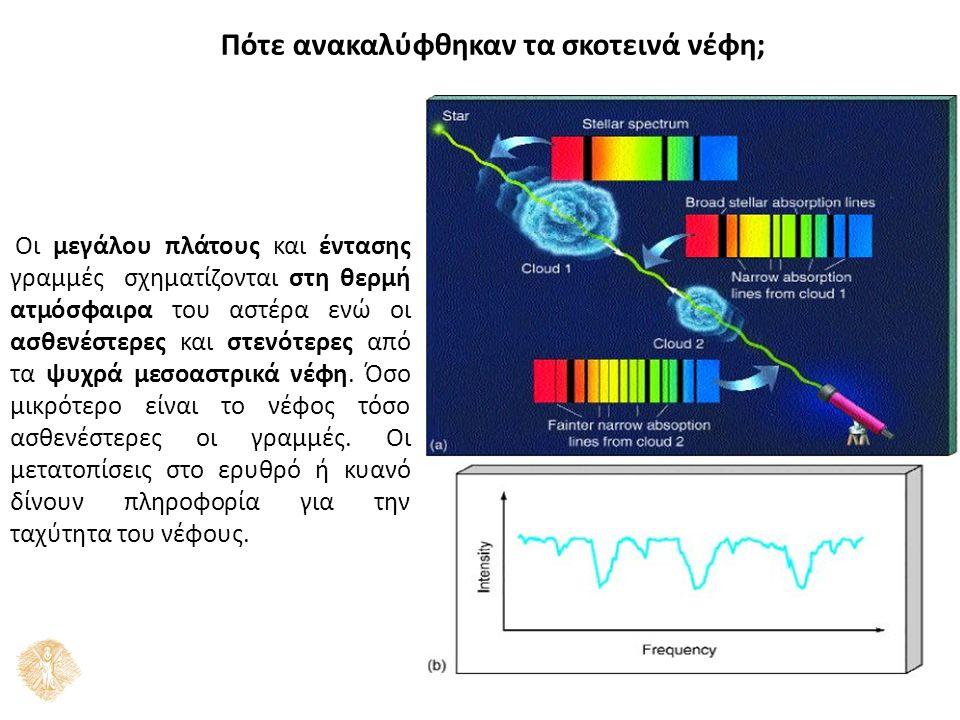 Πότε ανακαλύφθηκαν τα σκοτεινά νέφη; Οι μεγάλου πλάτους και έντασης γραμμές σχηματίζονται στη θερμή ατμόσφαιρα του αστέρα ενώ οι ασθενέστερες και στενότερες από τα ψυχρά μεσοαστρικά νέφη.