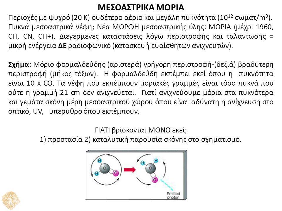 ΜΕΣΟΑΣΤΡΙΚΑ ΜΟΡΙΑ Περιοχές με ψυχρό (20 K) ουδέτερο αέριο και μεγάλη πυκνότητα (10 12 σωματ/m 3 ).