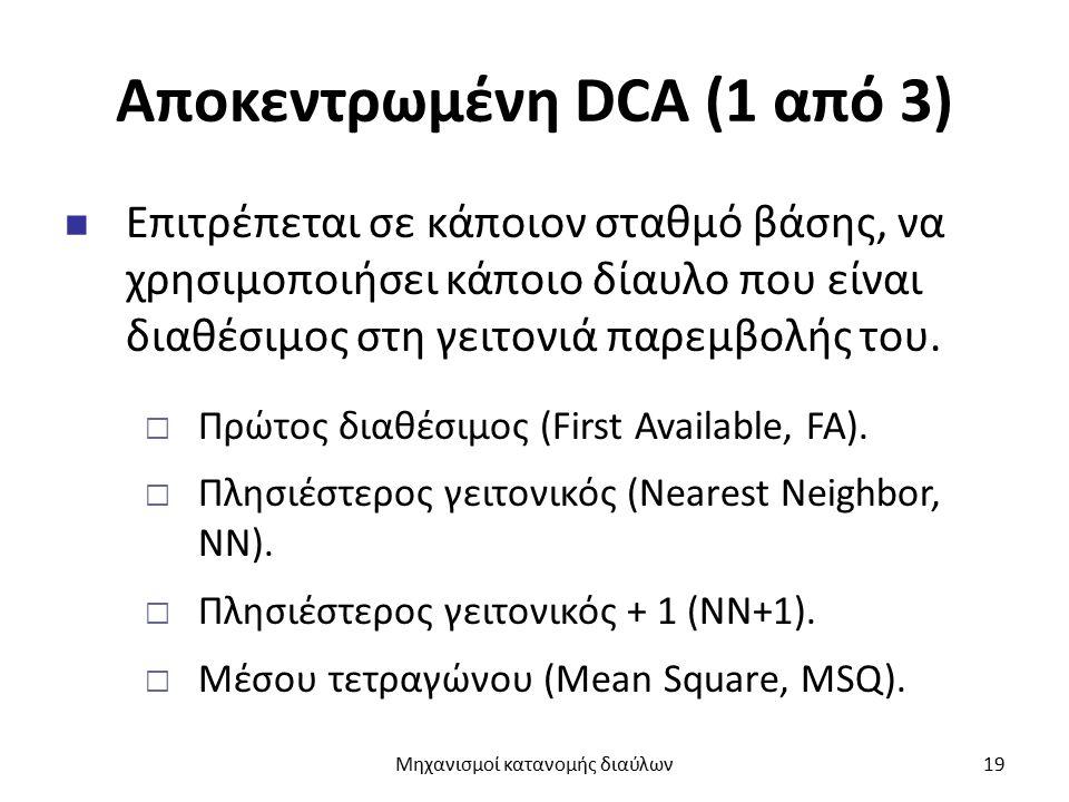 Αποκεντρωμένη DCA (1 από 3) Επιτρέπεται σε κάποιον σταθμό βάσης, να χρησιμοποιήσει κάποιο δίαυλο που είναι διαθέσιμος στη γειτονιά παρεμβολής του.  Π