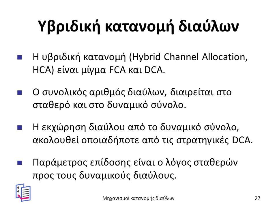 Υβριδική κατανομή διαύλων Η υβριδική κατανομή (Hybrid Channel Allocation, HCA) είναι μίγμα FCA και DCA. Ο συνολικός αριθμός διαύλων, διαιρείται στο στ