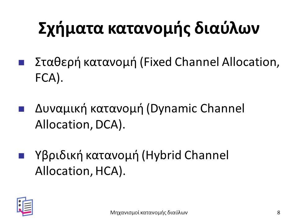 Σχήματα κατανομής διαύλων Σταθερή κατανομή (Fixed Channel Allocation, FCA). Δυναμική κατανομή (Dynamic Channel Allocation, DCA). Υβριδική κατανομή (Hy