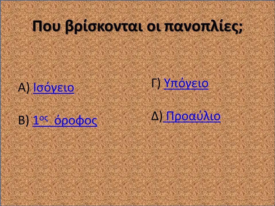 Που βρίσκονται οι πανοπλίες; Α) ΙσόγειοΙσόγειο Β) 1 ος όροφος1 ος όροφος Γ) ΥπόγειοΥπόγειο Δ) Προαύλιο Προαύλιο