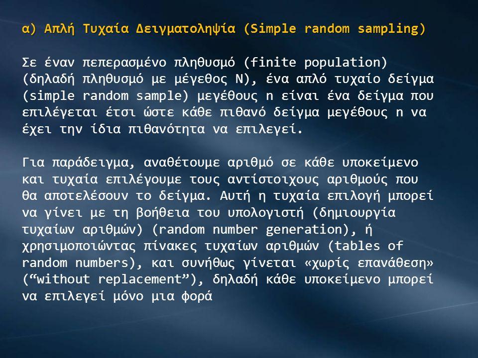 β) Τυχαία Στρωματοποιημένη Δειγματοληψία (Stratified Random Sampling) Το πρώτο βήμα είναι να χωρίσουμε τον πληθυσμό σε στρώματα, δηλαδή ομάδες (strata).