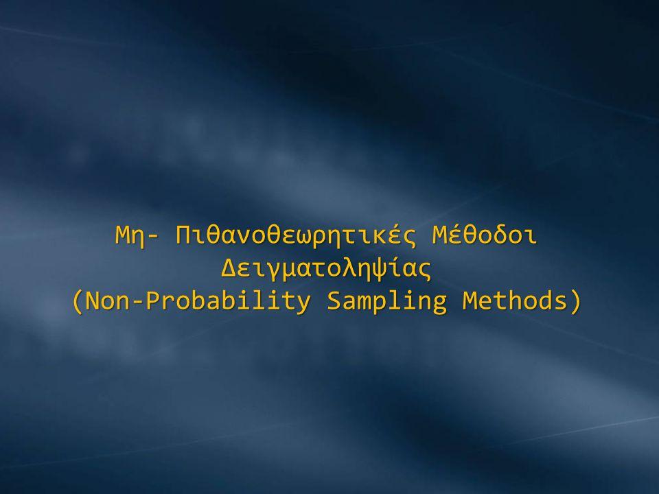 α) Δειγματοληψία Ευκολίας (Convenience Sampling) Το δείγμα επιλέγεται χωρίς να έχουμε προκαθορισμένες πιθανότητες επιλογής του κάθε υποκειμένου, με τρόπο που ευκολύνει τον ερευνητή.