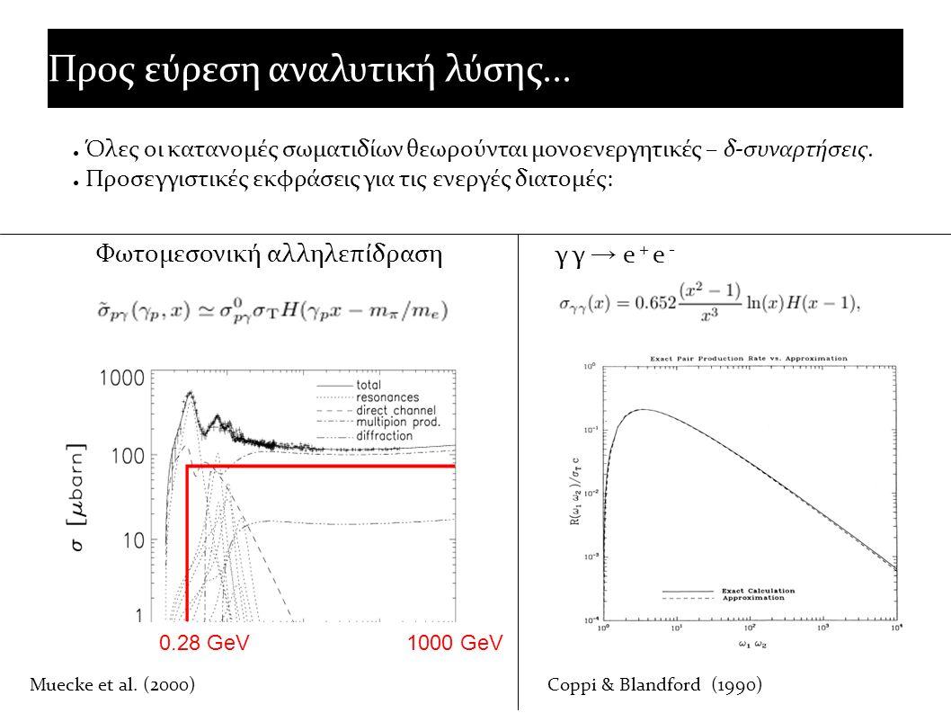 Προς εύρεση αναλυτική λύσης... ● Όλες οι κατανομές σωματιδίων θεωρούνται μονοενεργητικές – δ-συναρτήσεις. ● Προσεγγιστικές εκφράσεις για τις ενεργές δ