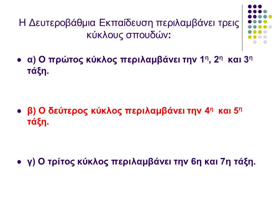 Η Δευτεροβάθμια Εκπαίδευση περιλαμβάνει τρεις κύκλους σπουδών: α) Ο πρώτος κύκλος περιλαμβάνει την 1 η, 2 η και 3 η τάξη. β) Ο δεύτερος κύκλος περιλαμ