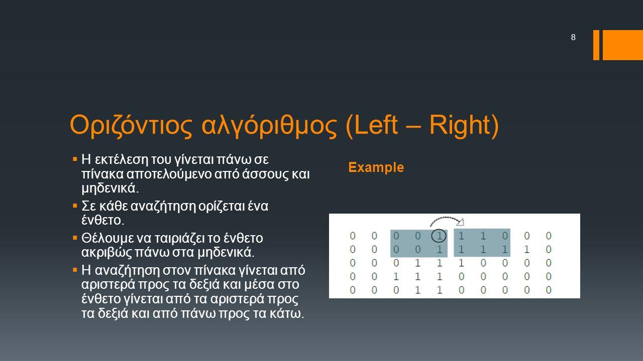 Example Οριζόντιος αλγόριθμος (Left – Right)  Η εκτέλεση του γίνεται πάνω σε πίνακα αποτελούμενο από άσσους και μηδενικά.  Σε κάθε αναζήτηση ορίζετα