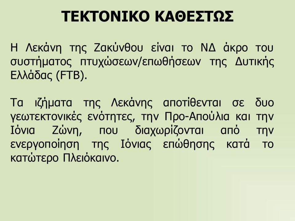 ΤΕΚΤΟΝΙΚΟ ΚΑΘΕΣΤΩΣ Η Λεκάνη της Ζακύνθου είναι το ΝΔ άκρο του συστήματος πτυχώσεων/επωθήσεων της Δυτικής Ελλάδας (FTB).