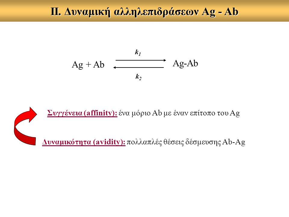 ΙΙ. Δυναμική αλληλεπιδράσεων Αg - Ab Ag + Ab Ag-Ab k1k1 k2k2 Συγγένεια (affinity): ένα μόριο Ab με έναν επίτοπο του Ag Δυναμικότητα (avidity): πολλαπλ