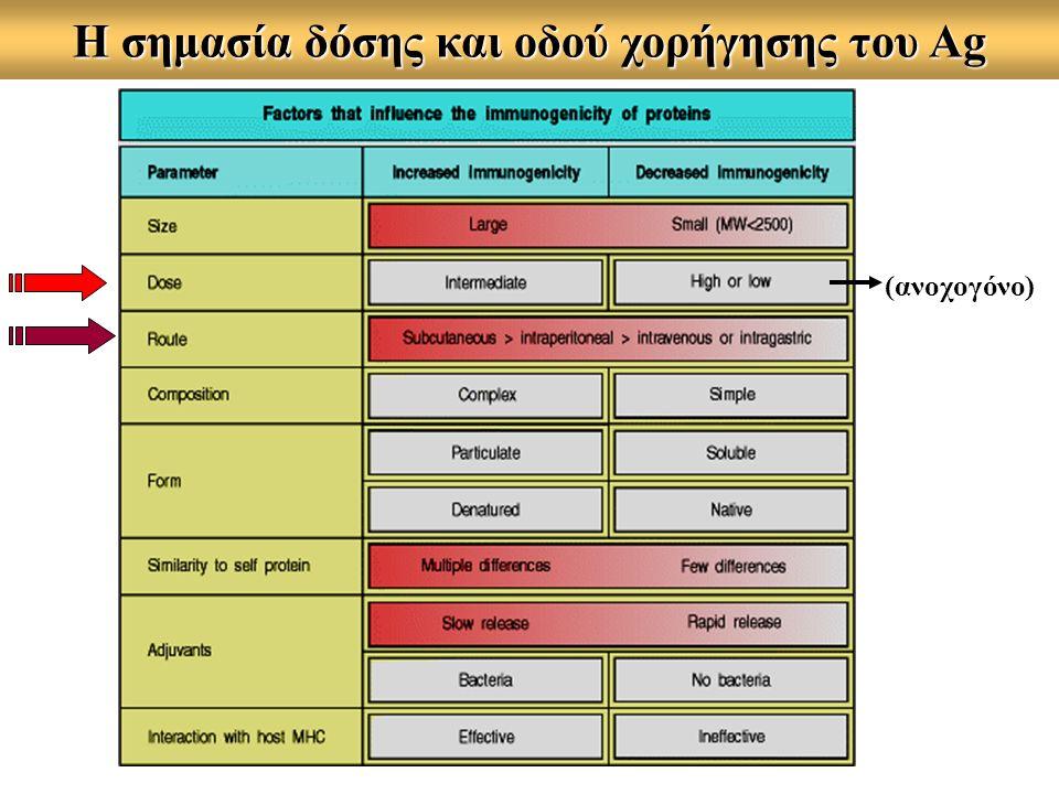 Η σημασία δόσης και οδού χορήγησης του Ag (ανοχογόνο)