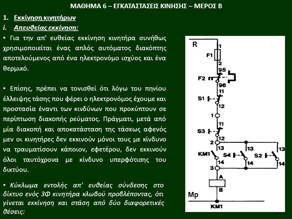 ΜΑΘΗΜΑ 6 – ΕΓΚΑΤΑΣΤΑΣΕΙΣ ΚΙΝΗΣΗΣ – ΜΕΡΟΣ Β 1.Εκκίνηση κινητήρων i.Απευθείας εκκίνηση: Για την απ ευθείας εκκίνηση κινητήρα συνήθως χρησιµοποιείται ένας απλός αυτόµατος διακόπτης αποτελούµενος από ένα ηλεκτρονόµο ισχύος και ένα θερµικό.