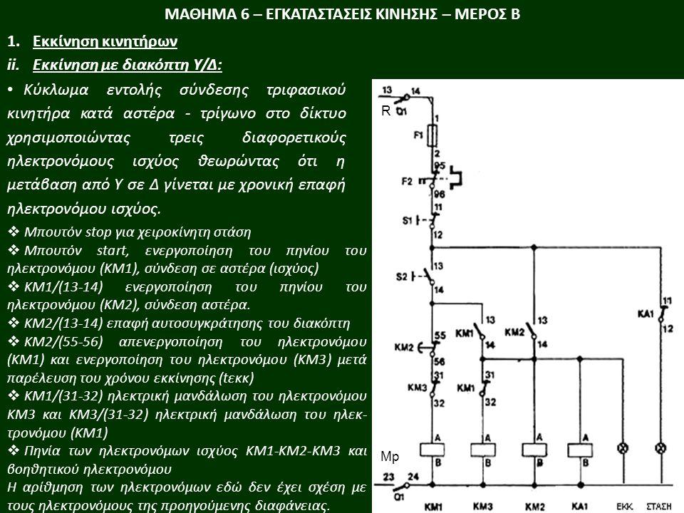 ΜΑΘΗΜΑ 6 – ΕΓΚΑΤΑΣΤΑΣΕΙΣ ΚΙΝΗΣΗΣ – ΜΕΡΟΣ Β 1.Εκκίνηση κινητήρων ii.Εκκίνηση με ηλεκτρονικό μετατροπέα ρύθμισης τάσης: Οι ιδιότητες και τα τεχνικά χαρακτηριστικά των ηλεκτρονικών μετατροπέων ισχύος βρίσκουν ευρεία χρήση στην εκκίνηση κινητήρων.
