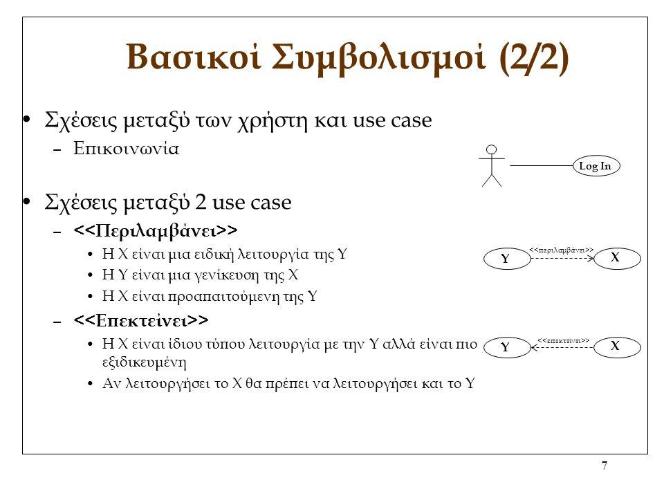7 Βασικοί Συμβολισμοί (2/2) Σχέσεις μεταξύ των χρήστη και use case –Επικοινωνία Σχέσεις μεταξύ 2 use case – > Η Χ είναι μια ειδική λειτουργία της Υ H Y είναι μια γενίκευση της Χ Η Χ είναι προαπαιτούμενη της Υ – > Η Χ είναι ίδιου τύπου λειτουργία με την Υ αλλά είναι πιο εξιδικευμένη Αν λειτουργήσει το Χ θα πρέπει να λειτουργήσει και το Υ Log In X Y X Y >