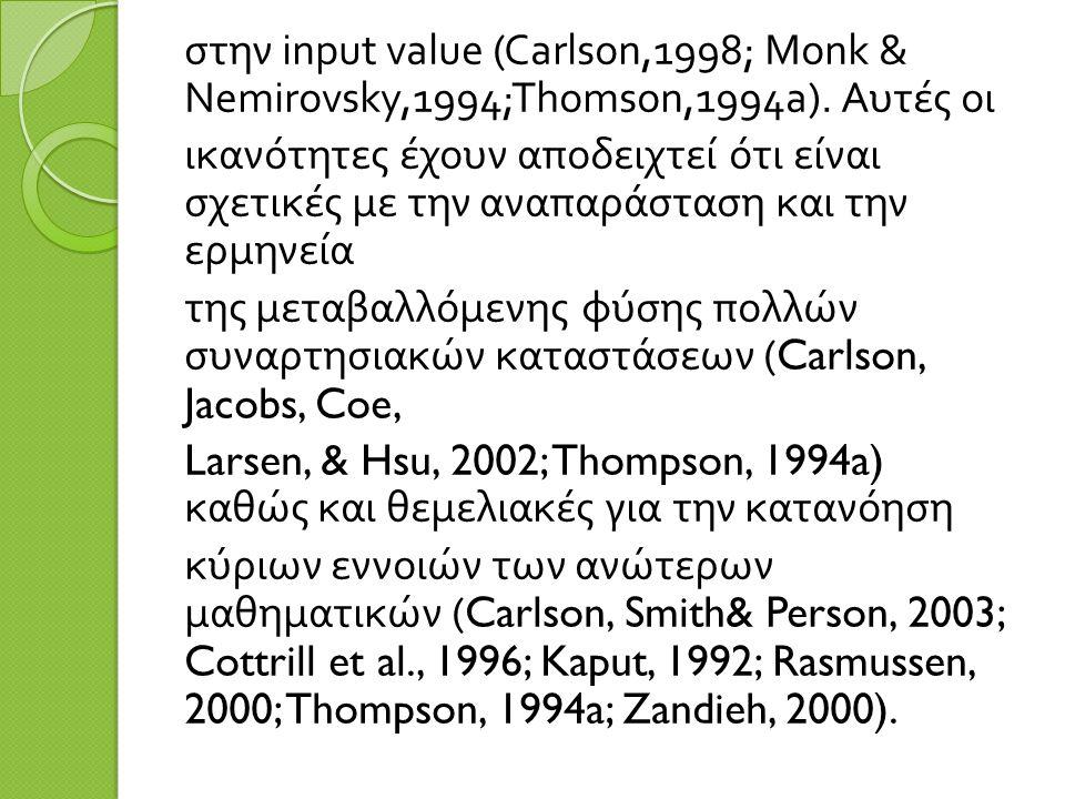 στην input value (Carlson,1998; Monk & Nemirovsky,1994;Thomson,1994a).