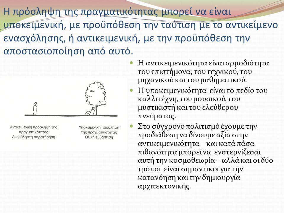 Η πρόσληψη της πραγματικότητας μπορεί να είναι υποκειμενική, με προϋπόθεση την ταύτιση με το αντικείμενο ενασχόλησης, ή αντικειμενική, με την προϋπόθεση την αποστασιοποίηση από αυτό.