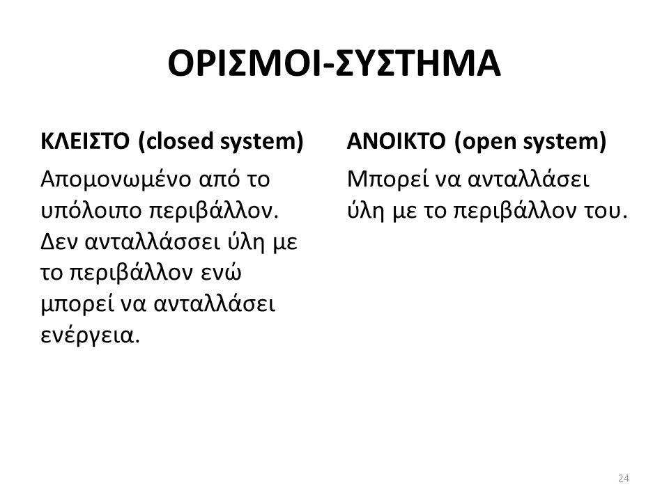ΟΡΙΣΜΟΙ-ΣΥΣΤΗΜΑ ΚΛΕΙΣΤΟ (closed system) Απομονωμένο από το υπόλοιπο περιβάλλον.