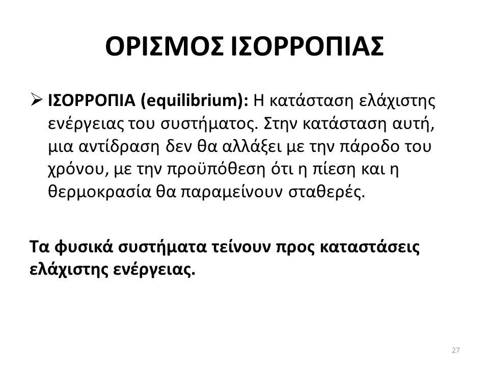 ΟΡΙΣΜΟΣ ΙΣΟΡΡΟΠΙΑΣ  ΙΣΟΡΡΟΠΙΑ (equilibrium): Η κατάσταση ελάχιστης ενέργειας του συστήματος.