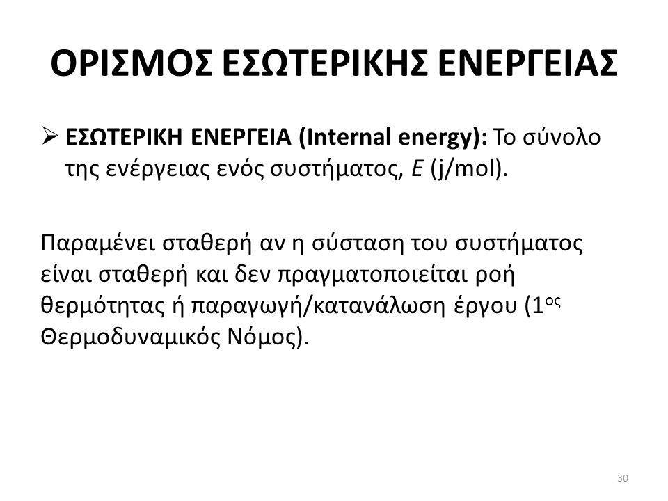 ΟΡΙΣΜΟΣ ΕΣΩΤΕΡΙΚΗΣ ΕΝΕΡΓΕΙΑΣ  ΕΣΩΤΕΡΙΚΗ ΕΝΕΡΓΕΙΑ (Internal energy): Το σύνολο της ενέργειας ενός συστήματος, Ε (j/mol).
