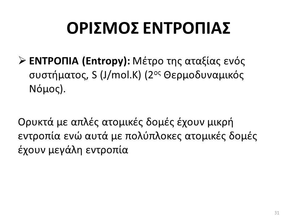 ΟΡΙΣΜΟΣ ΕΝΤΡΟΠΙΑΣ  ΕΝΤΡΟΠΙΑ (Entropy): Μέτρο της αταξίας ενός συστήματος, S (J/mol.K) (2 ος Θερμοδυναμικός Νόμος).