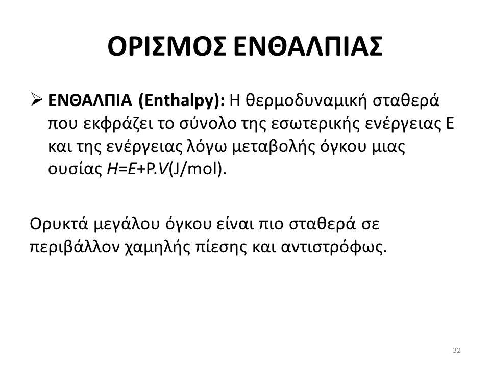 ΟΡΙΣΜΟΣ ΕΝΘΑΛΠΙΑΣ  ΕΝΘΑΛΠΙΑ (Enthalpy): Η θερμοδυναμική σταθερά που εκφράζει το σύνολο της εσωτερικής ενέργειας Ε και της ενέργειας λόγω μεταβολής όγκου μιας ουσίας H=E+P.V(J/mol).