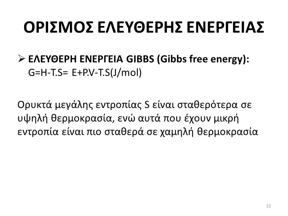 ΟΡΙΣΜΟΣ ΕΛΕΥΘΕΡΗΣ ΕΝΕΡΓΕΙΑΣ  ΕΛΕΥΘΕΡΗ ΕΝΕΡΓΕΙΑ GIBBS (Gibbs free energy): G=H-T.S= E+P.V-T.S(J/mol) Ορυκτά μεγάλης εντροπίας S είναι σταθερότερα σε υψηλή θερμοκρασία, ενώ αυτά που έχουν μικρή εντροπία είναι πιο σταθερά σε χαμηλή θερμοκρασία 33