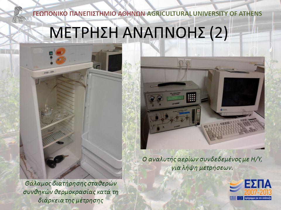 ΓΕΩΠΟΝΙΚΟ ΠΑΝΕΠΙΣΤΗΜΙΟ ΑΘΗΝΩΝ AGRICULTURAL UNIVERSITY OF ATHENS ΜΕΤΡΗΣΗ ΑΝΑΠΝΟΗΣ (2) Ο αναλυτής αερίων συνδεδεμένος με Η/Υ, για λήψη μετρήσεων.