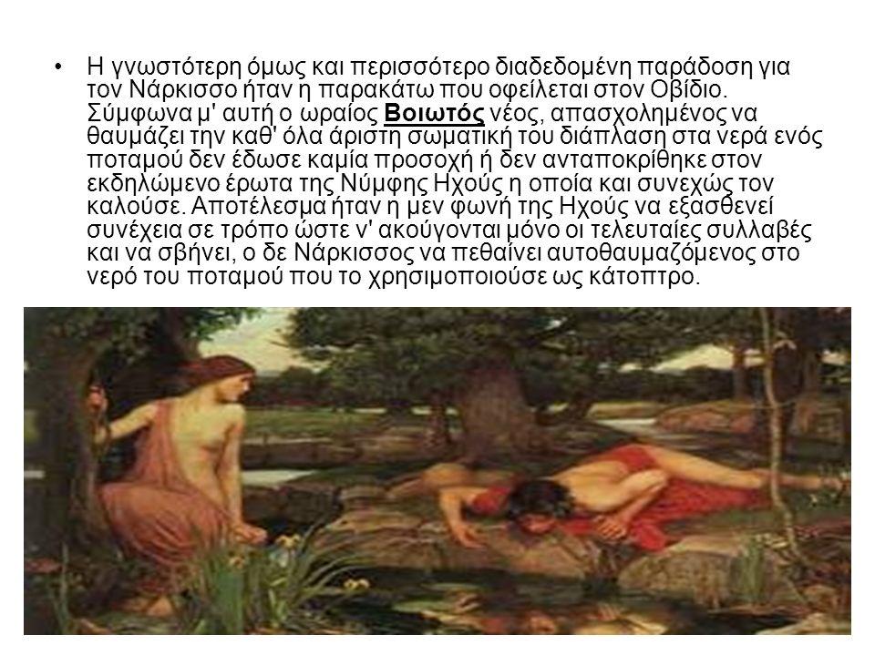 Η γνωστότερη όμως και περισσότερο διαδεδομένη παράδοση για τον Νάρκισσο ήταν η παρακάτω που οφείλεται στον Οβίδιο.