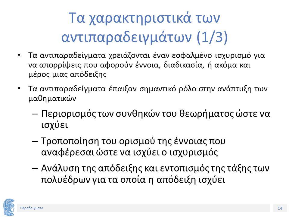 14 Παραδείγματα Τα χαρακτηριστικά των αντιπαραδειγμάτων (1/3) Τα αντιπαραδείγματα χρειάζονται έναν εσφαλμένο ισχυρισμό για να απορρίψεις που αφορούν έννοια, διαδικασία, ή ακόμα και μέρος μιας απόδειξης Τα αντιπαραδείγματα έπαιξαν σημαντικό ρόλο στην ανάπτυξη των μαθηματικών – Περιορισμός των συνθηκών του θεωρήματος ώστε να ισχύει – Τροποποίηση του ορισμού της έννοιας που αναφέρεσαι ώστε να ισχύει ο ισχυρισμός – Ανάλυση της απόδειξης και εντοπισμός της τάξης των πολυέδρων για τα οποία η απόδειξη ισχύει