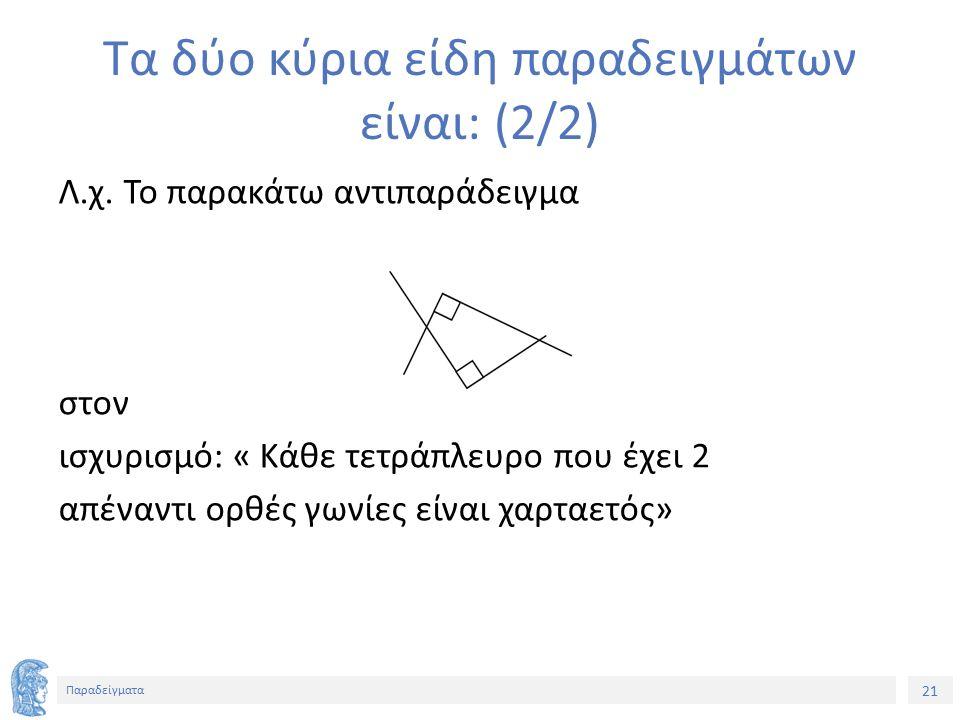 21 Παραδείγματα Τα δύο κύρια είδη παραδειγμάτων είναι: (2/2) Λ.χ.