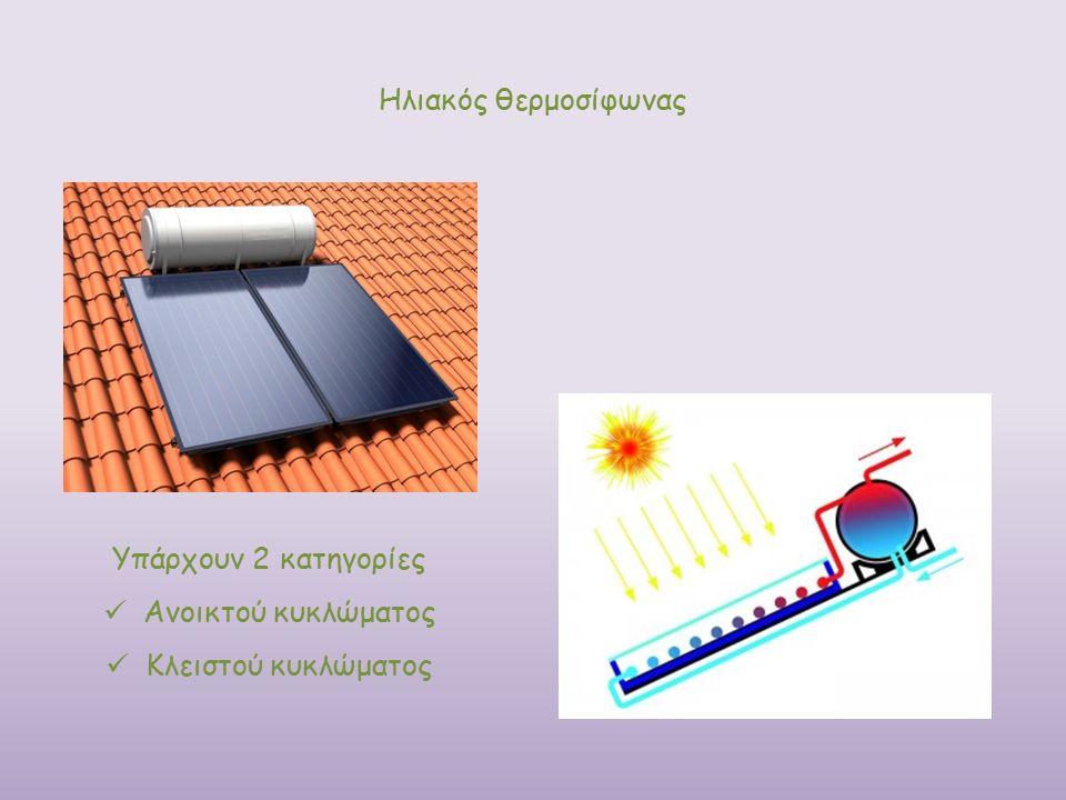 Ηλιακός θερμοσίφωνας Υπάρχουν 2 κατηγορίες Ανοικτού κυκλώματος Κλειστού κυκλώματος