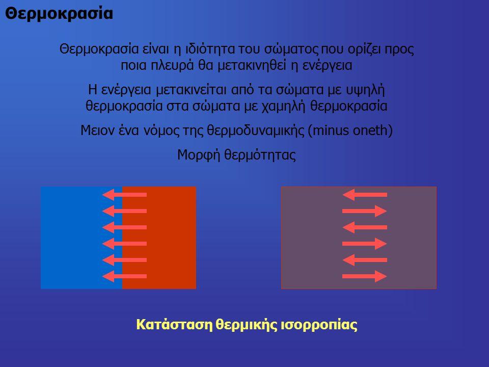 Θερμοκρασία Θερμοκρασία είναι η ιδιότητα του σώματος που ορίζει προς ποια πλευρά θα μετακινηθεί η ενέργεια Η ενέργεια μετακινείται από τα σώματα με υψηλή θερμοκρασία στα σώματα με χαμηλή θερμοκρασία Μειον ένα νόμος της θερμοδυναμικής (minus oneth) Μορφή θερμότητας Κατάσταση θερμικής ισορροπίας