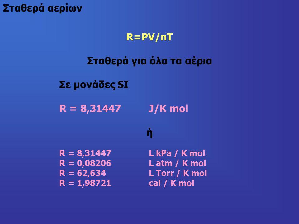 R=PV/nT Σταθερά για όλα τα αέρια Σε μονάδες SI R = 8,31447 J/K mol ή R = 8,31447 L kPa / K mol R = 0,08206L atm / K mol R = 62,634L Torr / K mol R = 1,98721 cal / K mol Σταθερά αερίων