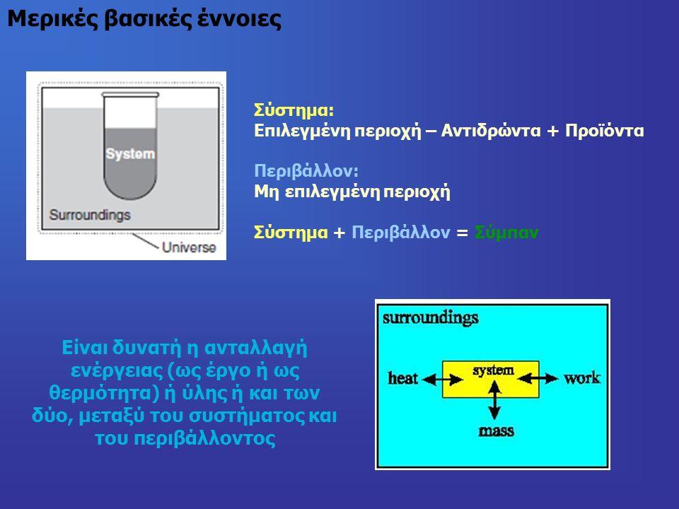 Μερικές βασικές έννοιες Σύστημα: Επιλεγμένη περιοχή – Αντιδρώντα + Προϊόντα Περιβάλλον: Μη επιλεγμένη περιοχή Σύστημα + Περιβάλλον = Σύμπαν Είναι δυνατή η ανταλλαγή ενέργειας (ως έργο ή ως θερμότητα) ή ύλης ή και των δύο, μεταξύ του συστήματος και του περιβάλλοντος